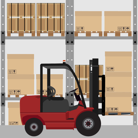 warehouse interior: Warehouse vector illustration. Car loader with carton boxes with shipping symbols. Storage design. Warehouse interior