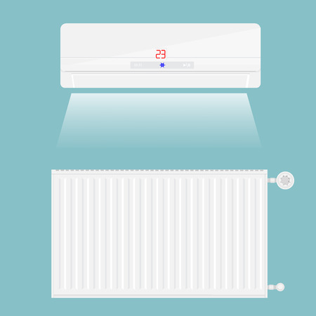 cold room: Vector illustration air conditioner and heating radiatorisolated on blue background. Air conditioner on the wal icon.
