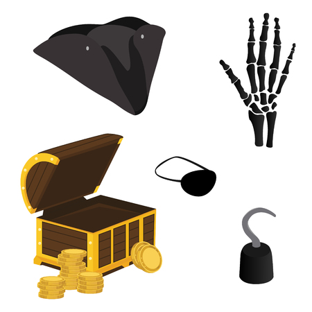 costume eye patch: Vector illustration pirate icon set with pirate hook, pirate hat, pirate eye patch, hand bone and treasure chest