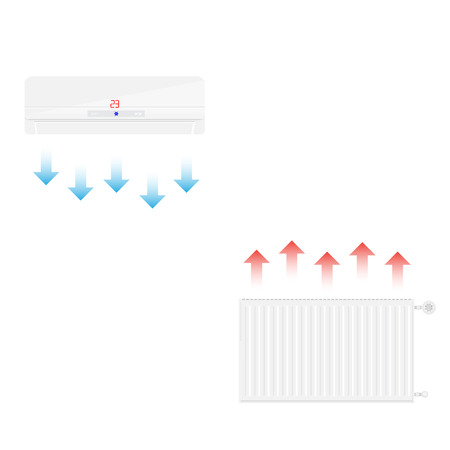 warmness: Vector illustration realistic white heating radiator cold and hot ait. Central Heating Radiators icons