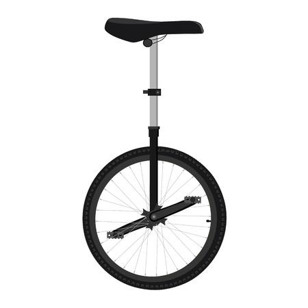 unicycle: Raster illustration unicycle or one wheel bicycle. Cartoon flat icon. Stock Photo
