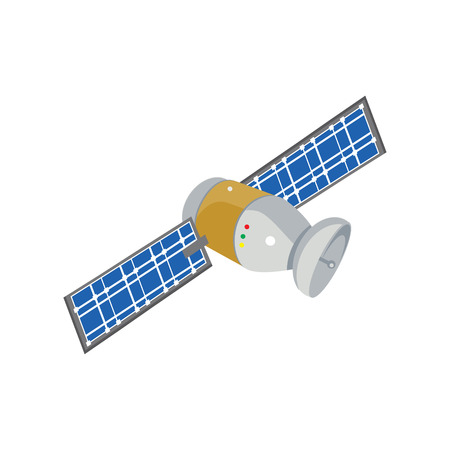 transponder: Raster illustration communication satellite icon with solar cells, battery.