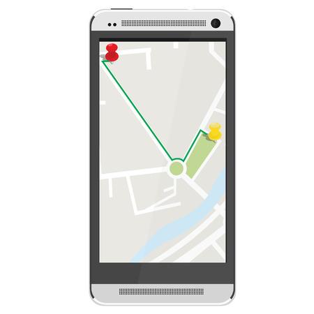 gps navigator: White realistic mobile smartphone with gps navigation. Gps device. Navigation map. Gps navigator