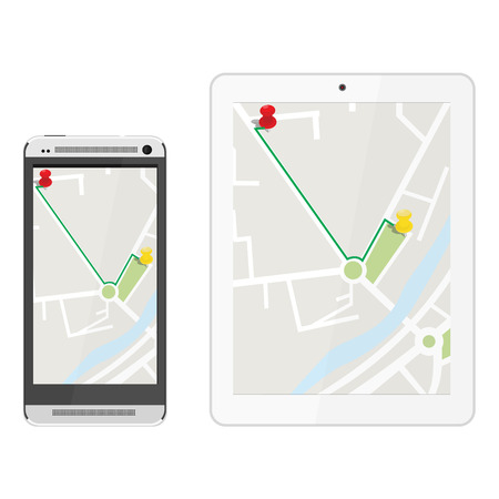 gps device: White realistic tablet and mobile smartphone with gps navigaton. Gps device. Navigation map. Gps navigator Illustration