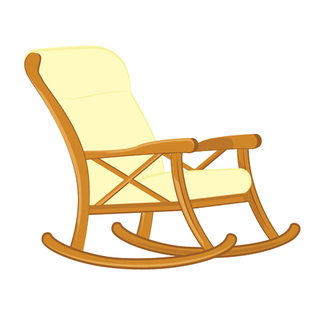 Raster illustration wooden rocking chair with soft seat. Rocking chair icon Stock Photo
