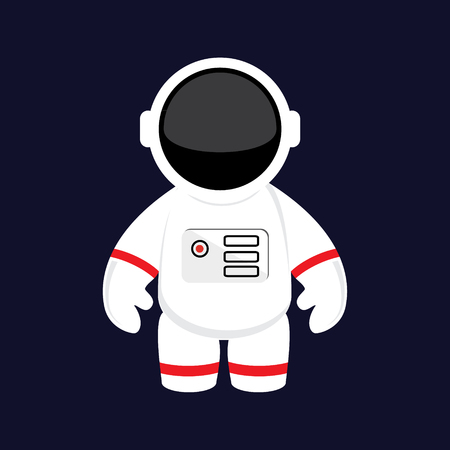 Raster illustratie cartoon astronaut, kosmonaut in de ruimte. Ruimtepak. Astronaut flat icon