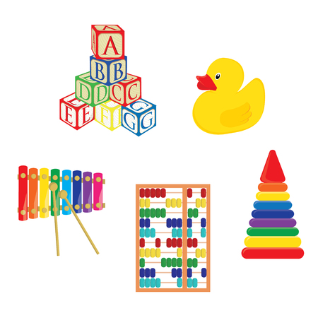 rubber duck: Baby toys xylophone, yellow rubber duck, alphabet building blocks, pyramid and abacus raster set