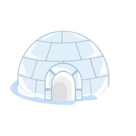 ice brick: Raster illustration snow or ice house igloo. House made from ice blocks