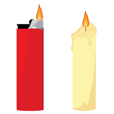 Raster illustration red pocket lighter with fire and wax burning candle. Church candle. Lighter icon. Burning lighter. Modern fuel lighter