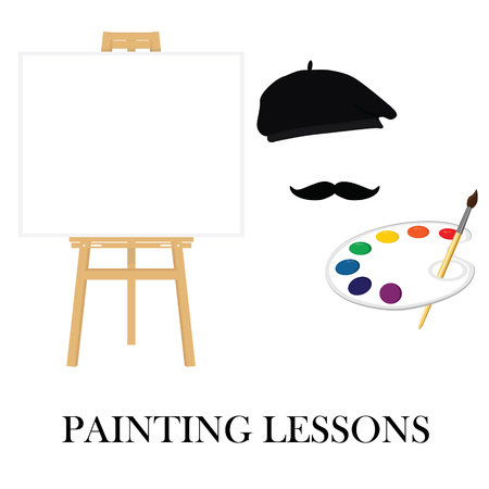 paint palette: Painting lessons or school concept. Easel and painter in painter hat with mustache and holding paint palette. Stock Photo