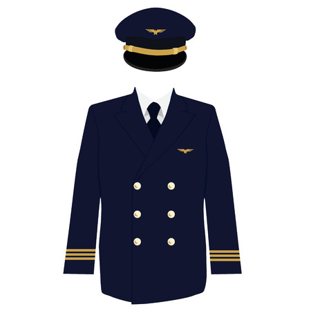 captain cap: Raster illustration pilot, captain, aviator uniform coat and cap with golden badge wings. Stock Photo