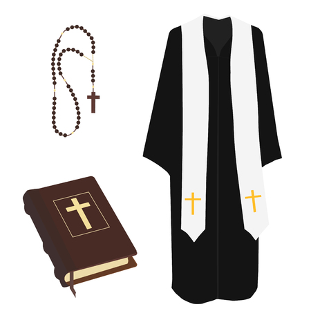 preacher: Raster illustration church prayer priest pastor or preacher clothing costume. Brown closed Holy Bible and rosary beads with cross raster isolated Stock Photo