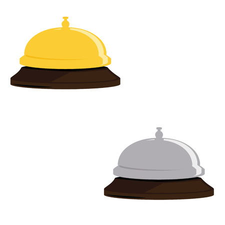 hotel bell: Raster illustration golden and silver hotel bell. Reception bell flat icon. Reception service bell