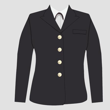 military uniform: Raster illustration  military uniform, warpaint female. Captain jacket with tie