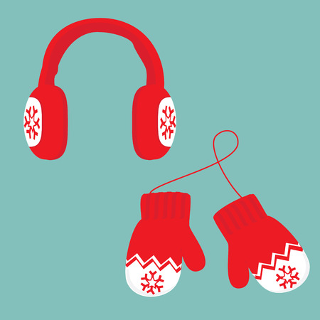 Raster illustration red and white ear muffs and pair of knitted winter mittens on blue background. Christmas greeting card with mittens
