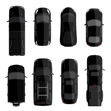 mini car: Vector illustration big set, collection black cars top view. Sport car, pickup truck, sedan, small mini car and offroad car Illustration