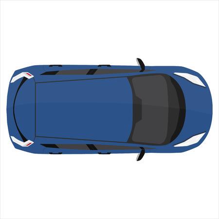 Ilustración del vector azul deporte Opinión superior del coche. coche genérico. Carro deportivo