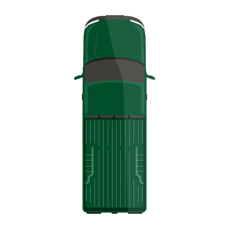 Vector illustration green pick up car, truck top view.