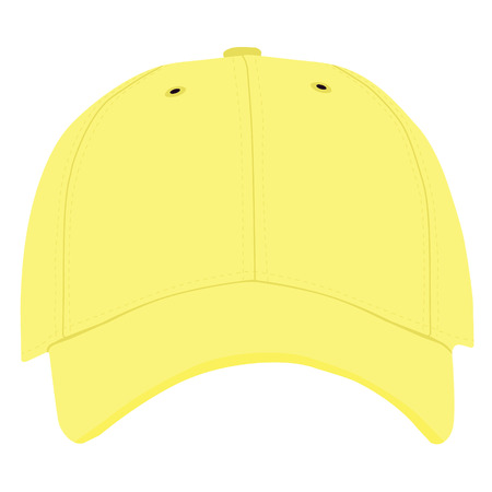 hat with visor: Vector illustration of yellow baseball cap front view isolated on white background. Baseball cap template design Illustration