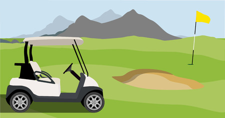 Vector illustration of golf field, golf flag and golf cart with blue golf clubs bag. Mountain landscape or background. Golf course.