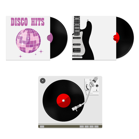 hits: Vector illustration of vinyl records in cover with party disco ball hits and black electric guitar. Vinyl player with vinyl record vector, record player, old, disco, gramophone Illustration