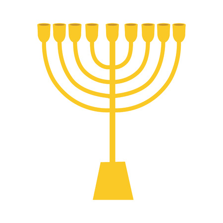 Vector illustration  golden menora or menorah usually used at Hanukkah celebrations. Menorah jewish symbol