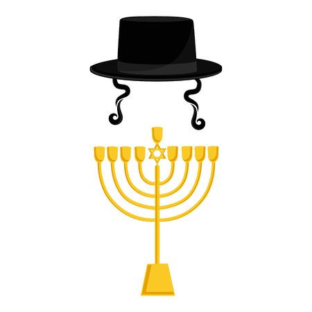 sideburns: Vector illustration golden menora or menorah usually used at Hanukkah celebrations. Menorah with David star jewish symbol. Black cylinder hat. Orthodox jewish hat with sideburns. Judaism symbols Illustration