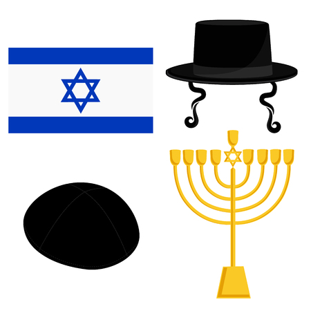 kippah: Vector illustration golden menora or menorah usually used at Hanukkah celebrations. Menorah with David star jewish symbol. Orthodox jewish hat with sideburns. Jerusalem flag