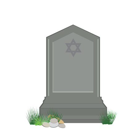 Vector illustration grey gravestone with David star isolated on white background. Flat tombstone icon. Jewish cemetery Vectores