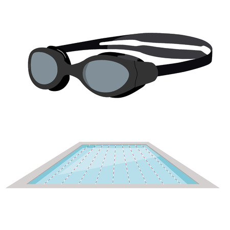 life style: Vector illustration swimming pool and swimming goggles. Sport and recreation, healthy life style, fitness, energy, summer activities.