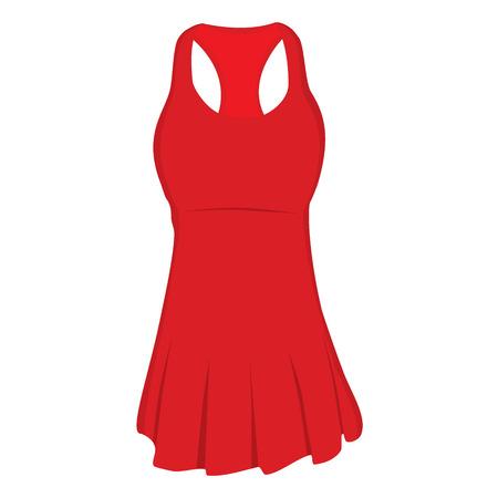 Red sport dress for girl, tennis dress, sports clothing. Tennis uniform