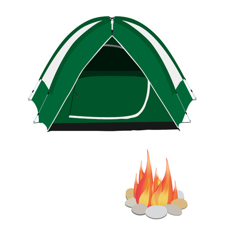 camping equipment: Camping equipment green camping tent, campfire with stones vector illustration. Camping gear icon set