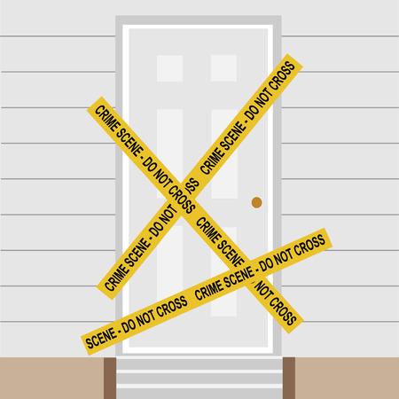 Vector illustration yellow police crime scene danger tape. Do not cross. Police tape across closed door Illustration