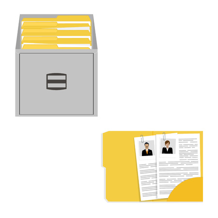 files: Vector illustration opened card catalog with file folders. Office furniture. Metal filing cabinet. Documents in folder.