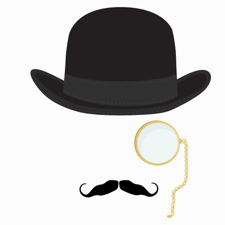 Vector illustration of black derby hat, mustache and golden monocle with chain. Bowler hat. Black fashion gentleman hat. Gentleman concept