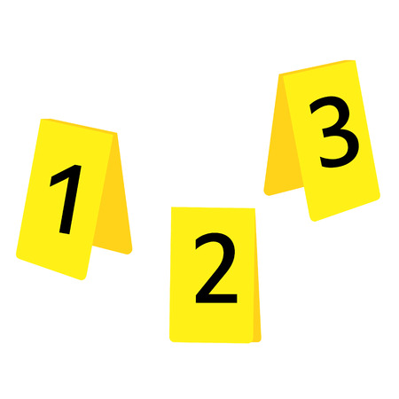 Vector illustratie set van drie gele markering van de plaats delict met nummers 1,2,3. Evidence marker.
