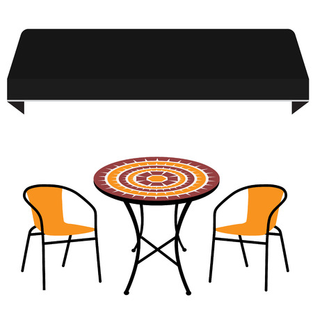 outdoor chair: Black shop window awning vintage outdoor table and two chairs. Round table and chair vector icon. Restaurant furniture