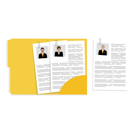 conclusion: Vector illustration business portfolio. Employment issue, resume, job search, contract conclusion concept. Find new job. CV curriculum vitae with man and woman photo Illustration
