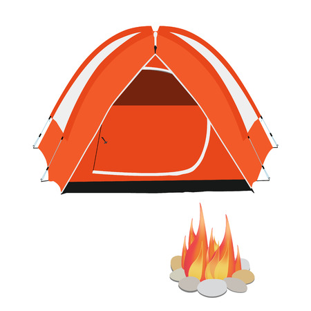 camping equipment: Camping equipment orange camping tent, campfire with stones vector illustration Illustration