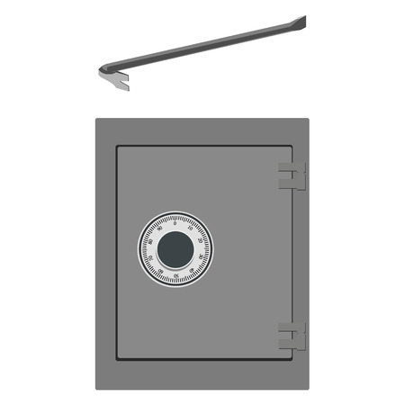 pry: Vector illustration breaking into bank metal safe with crowbar. Thief equipment Illustration
