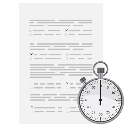 school test: Vector illustration test, exam paper with timer.  Exam, or survey concept icon. School test. School exam. Illustration