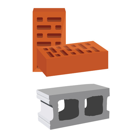 concrete block: Vector illustration standard concrete building block for architectural works. Cement block icon used for masonry. Two red brick block  for building. Masonry equipment