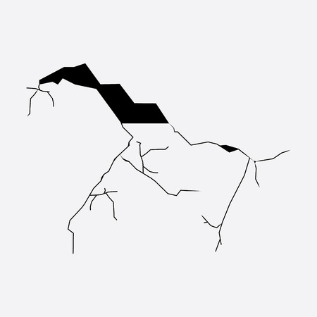 Vector illustration crack in wall. Broken wall. Hole in the wall