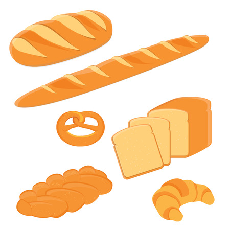 toasted sandwich: Loaf of bread, pigtail bread, pretzel, toast bread, croissant and french baguette vector illustration. Different kinds of bread vector icon Illustration