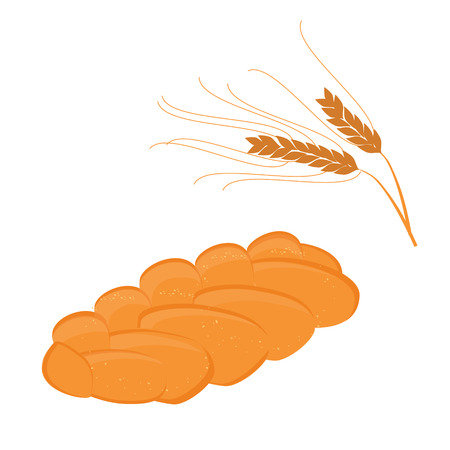 homemade bread: Vector illustration homemade bread pigtail and ears of wheat. Bread in the form of braids. Illustration