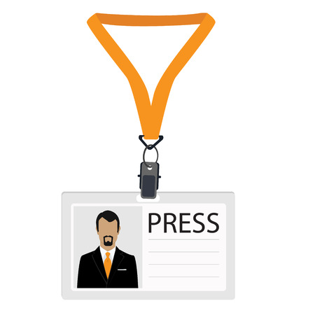 Vector illustration flat design name tag badge template. White plastic lanyard badge with man photo for press Illustration