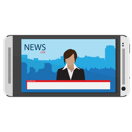 newsreader: News app on smartphone screen. Breaking news. TV News with woman newsreader or journalist concept background