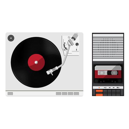 Vinyl player with vinyl record. Old, disco, gramophone. Vector illustration vintage audio tape recorder.