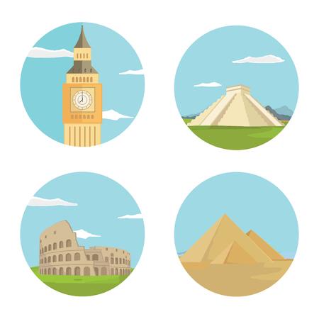 World landmarks flat icon set. Vector travel app web site monument sign. Egypt pyramid, Colosseum, Big Ben and Chichen itza