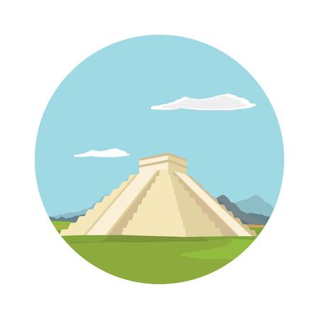 Vector illustration Chichen itza, maya monument round flat icon. Mexico